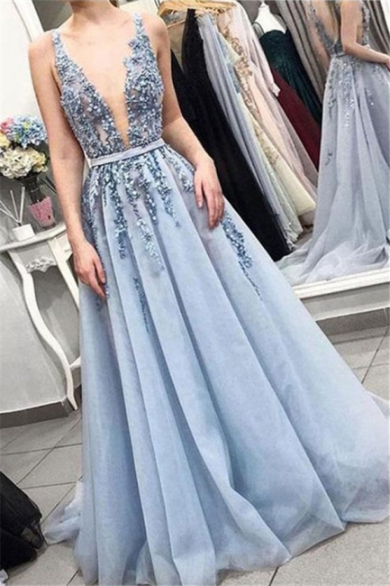 V-Neck Applique Ruffles Prom Dresses Tulle Sleeveless Sexy Evening Dresses with Beads