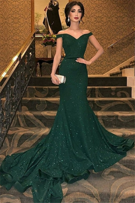 Chic One-shoulder Applique Prom Dresses Long Sleeves Side Slit Sexy Evening Dresses with Belt