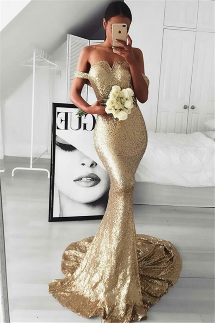 Gold Sequins Off-the-Shoulder Prom Dresses Sleeveless Mermaid Cheap Sexy Evening Dresses