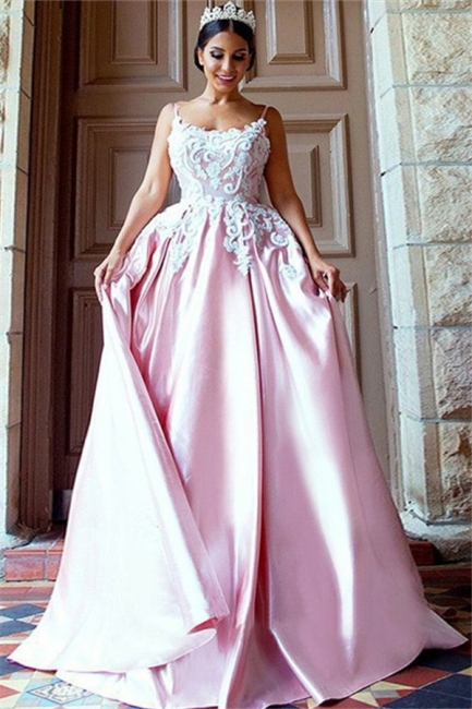 Open Back Appliques Prom Dresses Pink Spaghetti Strap Sexy Evening Dresses