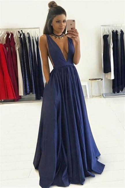 V-neck Sleeveless Prom Dresses Ruffles Cheap Sexy Evening Dresses with Pocket