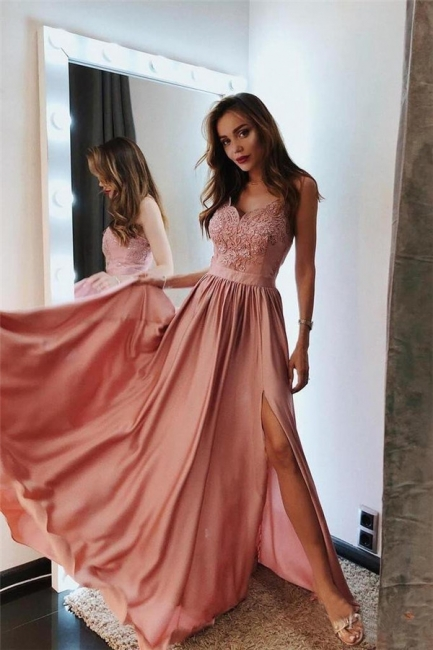 Glamorous Spaghetti-Strap Applique Prom Dresses Side slit A-Line Sleeveless Sexy Evening Dresses