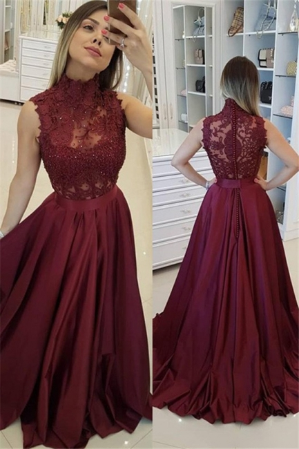 Burgundy High Neck Applique Prom Dresses Sleeveless Beads Sexy Evening Dresses with Belt