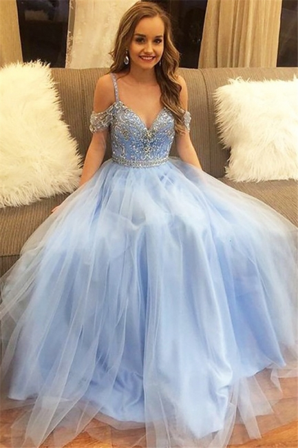 Romactic Spaghetti strap Applique Crystal Prom Dresses Sleeveless Sexy Evening Dresses with Beads