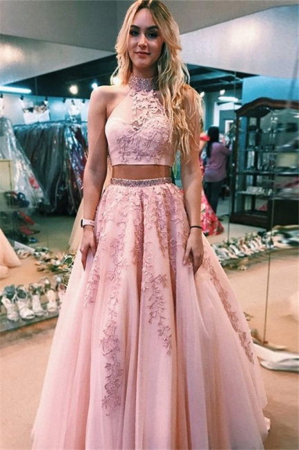 Chic Applique Halter Two Piece Prom Dresses Open Back Sleeveless Sexy Evening Dresses with Beads