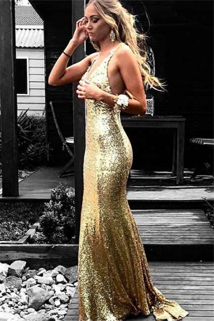 Gold Sequins Halter Prom Dresses Mermaid Open Back Sleeveless Sexy Evening Dresses