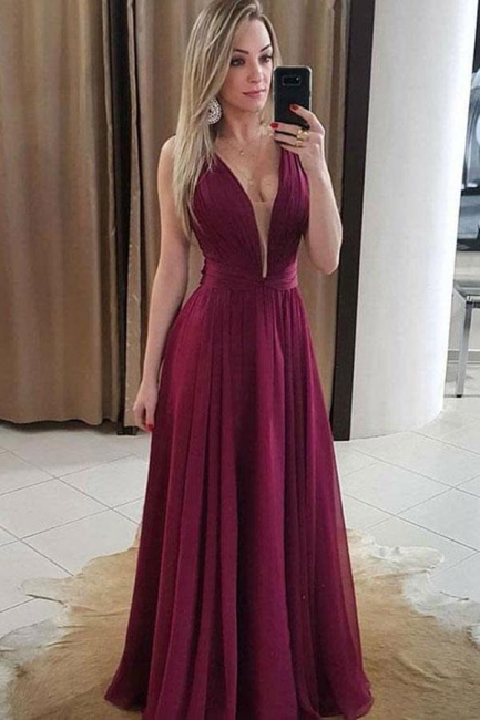 Chic Ruffles V-Neck Prom Dresses Simple Popular Sleeveless Sexy Evening Dresses