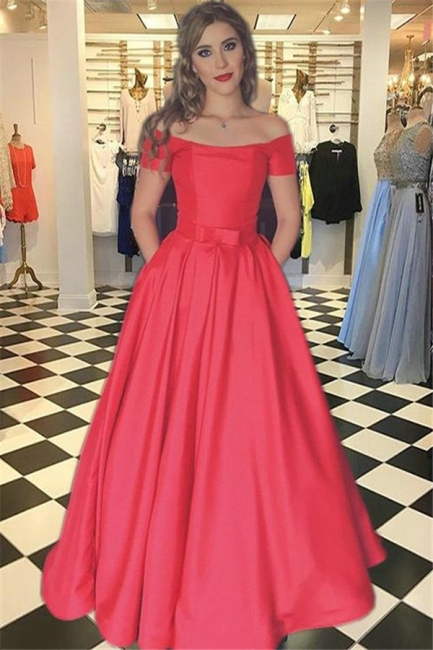 Gorgeous Red Prom Dresses Bateau Off-the-Shoulder Sexy Evening Dress with Belt