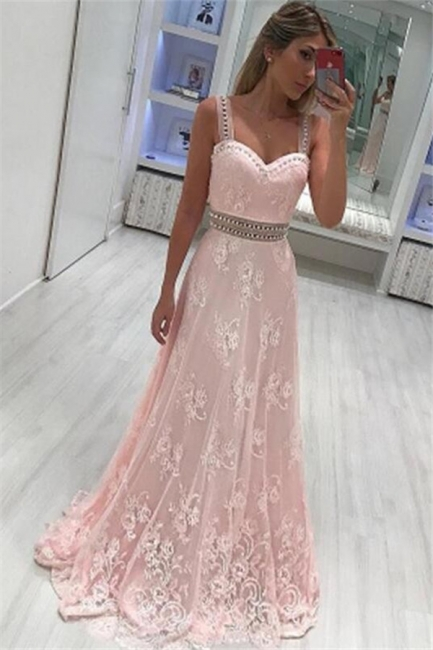 Pink Lace Straps Crystal Prom Dresses Sleeveless Sexy Evening Dresses with Belt