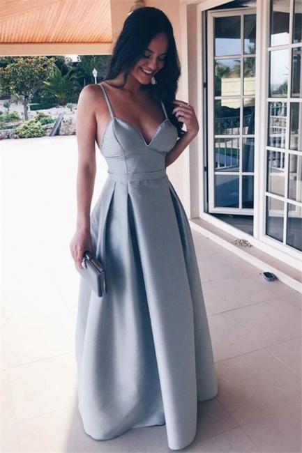 Chic Ruffle Backless Prom Dresses Spaghetti-Strap  Sleeveless Sexy Evening Dresses