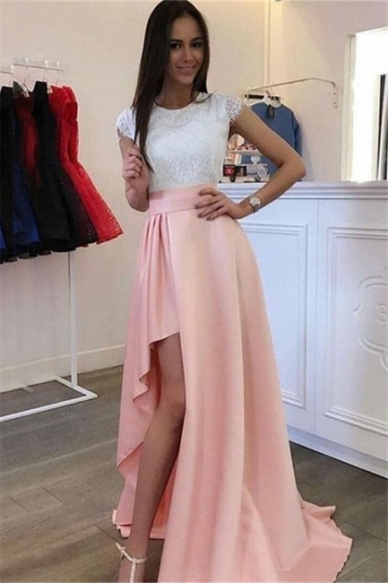 Chic Jewel Applique Ruffles Prom Dresses Side Slit Sleeveless Sexy Evening Dresses