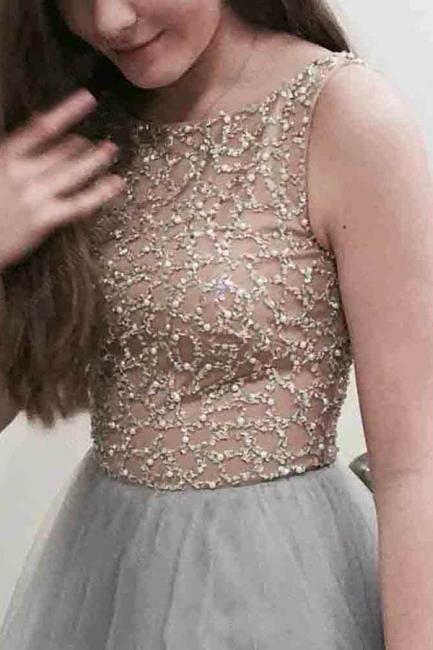 Chic Applique Jewel Prom Dresses Sheer Sleeveless Sexy Evening Dresses