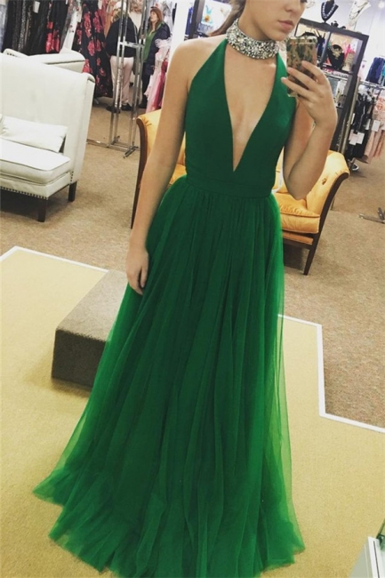 Chic Crystal Halter Prom Dresses Sheer Sleeveless Sexy Evening Dresses