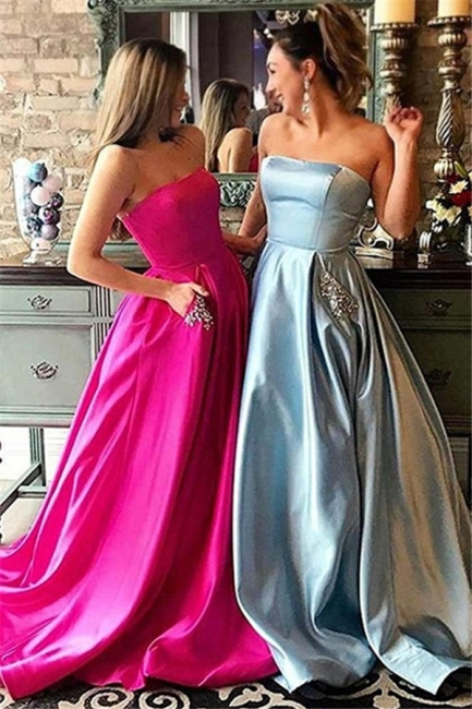 Strapless Beads Ruffles Prom Dresses Sleeveless Sexy Evening Dresses with Pocket