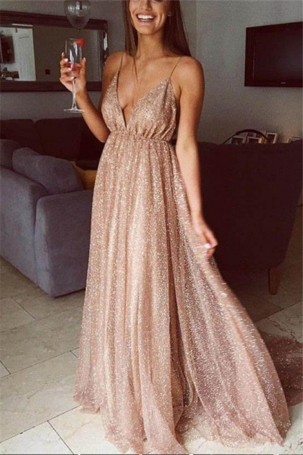 Squins Spaghetti-Strap Prom Dresses Backless Sleeveless Sexy Evening Dresses
