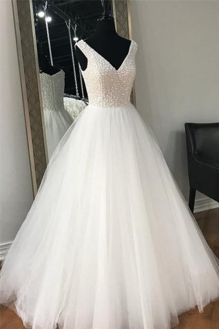 Chic Sheer Beads V-Neck Prom Dresses Simple Sleeveless Sexy Evening Dresses