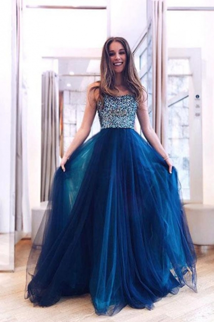 Glamorous Straps Crystal Applique Prom Dresses Sheer Sleeveless Sexy Evening Dresses