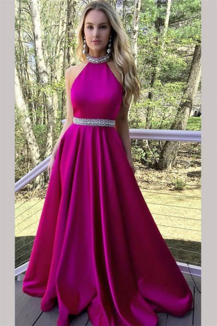 Crystal Halter Prom Dresses Ribbon Sleeveless Sexy Evening Dresses