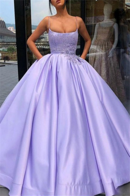Chic Spaghetti Strap Applique Beads Prom Dresses Ruffles Ball Gown Sleeveless Sexy Evening Dresses with Pocket