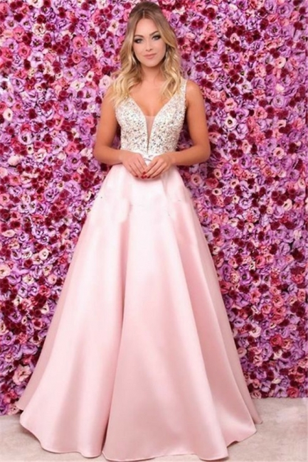 Pink V-Neck Sequins Ruffles Prom Dresses Open Back Sleeveless Sexy Evening Dresses