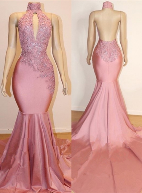 Pink High Neck Lace Mermaid Prom Dresses | Beaded Backless Long Evening Gown