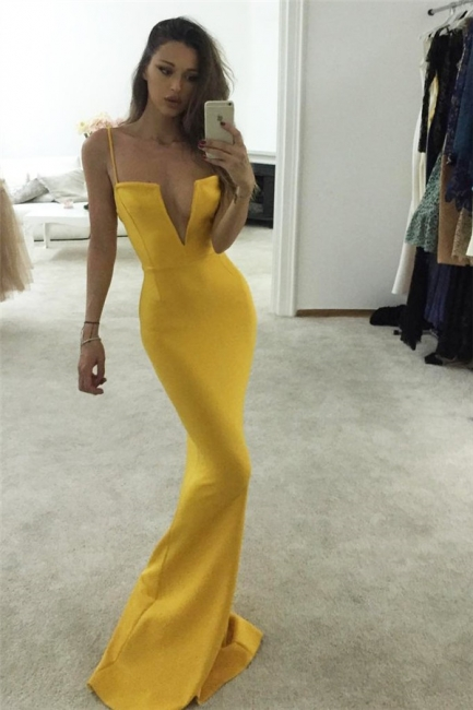 Spaghetti-Strap Prom Dresses Keyhole Mermaid Sleeveless Sexy Evening Dresses
