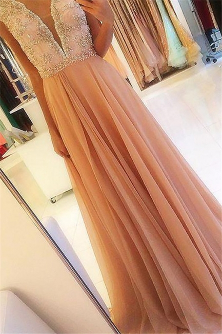 Chic Open Back Applique Prom Dresses Tulle Cheap Sexy Evening Dresses with Crystal