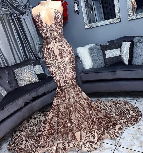 Halter Lace Mermaid Prom Dresses | Sleeveless V Neck Sequined Evening Dresses