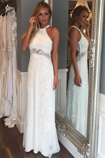 Chic Lace Halter Applique Prom Dresses Cheap Mermaid Sleeveless Sexy Evening Dresses