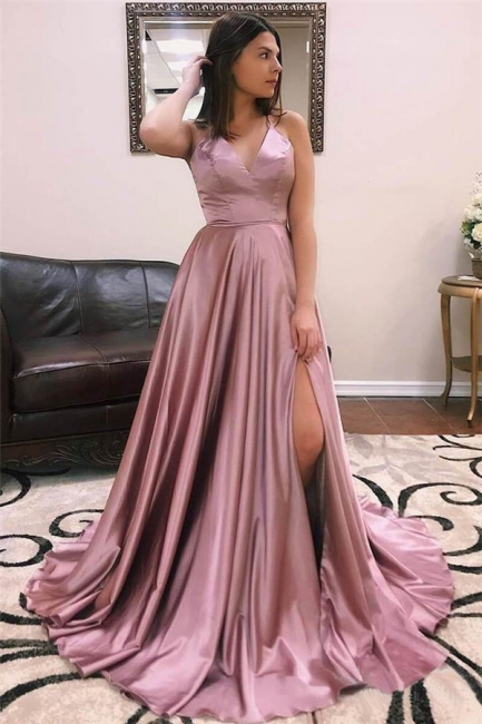 Charmeuse Halter Lace-Up Prom Dresses Side slit Sleeveless Sexy Evening Dresses