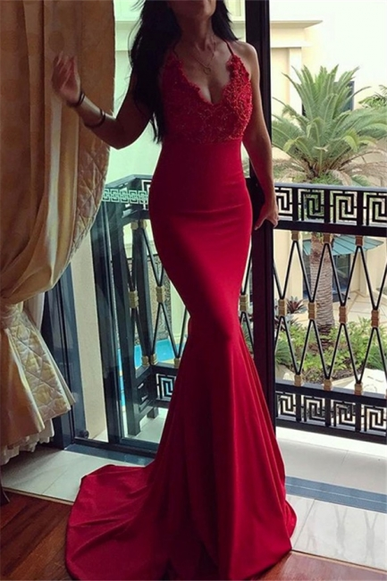 Red Halter Applique Sleeveless Prom Dresses Mermaid Sexy Evening Dresses with Beads
