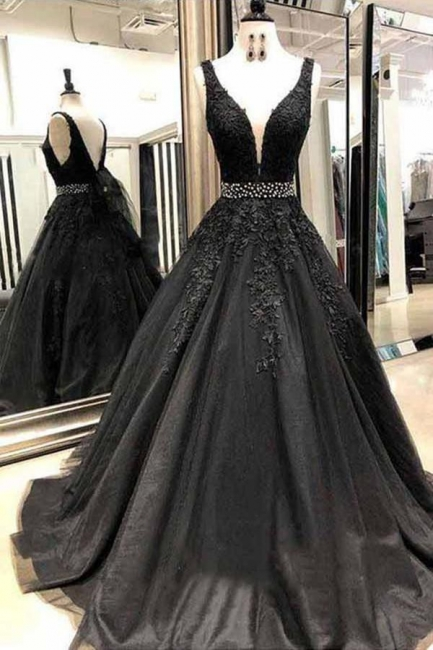 Black Applique Crystal Prom Dresses Straps Cheap Sleeveless Sexy Evening Dresses