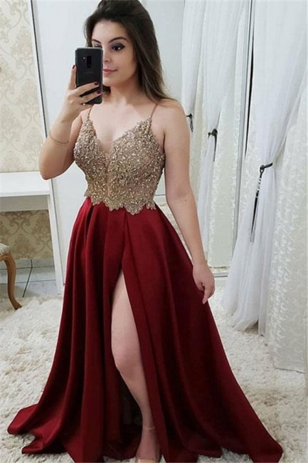 Applique Spaghetti Strap Prom Dresses Side Slit Sleeveless Sexy Evening Dresses with Beads