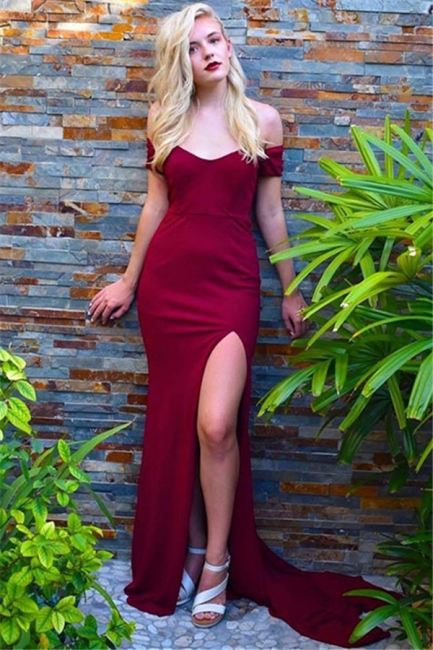 Burgundy Off-the-Shoulder Prom Dresses Side Slit Mermaid Sleeveless Sexy Evening Dresses