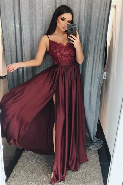 Applique Spaghetti-Strap Prom Dresses Side slit Sleeveless Sexy Evening Dresses with Beads