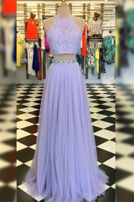 Chic High Neck Crystal Applique Prom Dresses Tulle Two Piece Sleeveless Sexy Evening Dresses