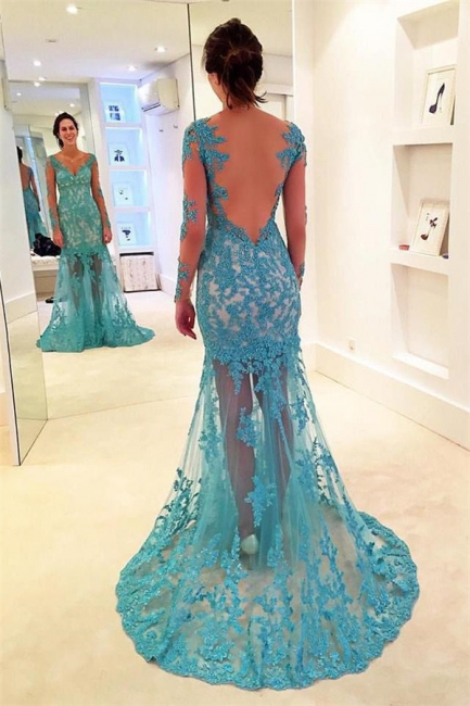 Chic Applique V-Neck Prom Dresses Bacless Mermaid Longsleeves Sexy Evening Dresses