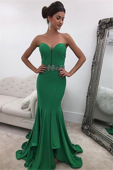 Green Sweetheart Crystal  Prom Dresses Ruffles Mermaid Sleeveless Sexy Evening Dresses