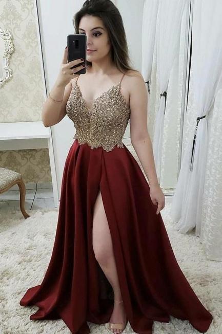 Gorgeous Beads Spaghetti-Strap Applique Prom Dresses Side slit Sleeveless Sexy Evening Dresses
