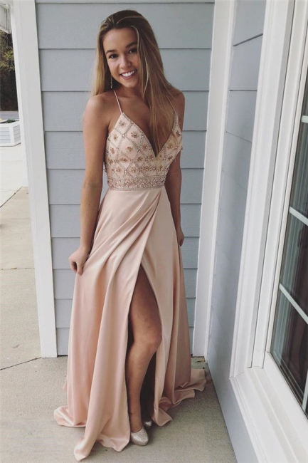 Chic Spaghetti-Strap Crystal Prom Dresses Side slit Sleeveless Sexy Evening Dresses with  Beads