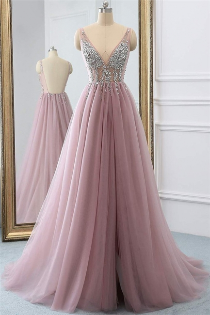 Pink V-Neck Applique Crystal Prom Dresses Sheer Side slit Backless Sleeveless Sexy Evening Dresses