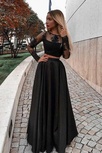 Chic jewel Applique Prom Dresses Two Piece Longsleeves Sexy Evening Dresses