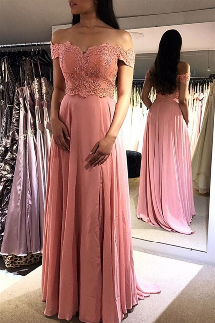 Chic Pink Off-the-Shoulder Prom Dresses Applique Cheap Sleeveless Sexy Evening Dresses