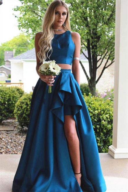 Chic Jewel Two Piece Ruffles Prom dresses Side-Slit Sleeveless Sexy Evening Dresses