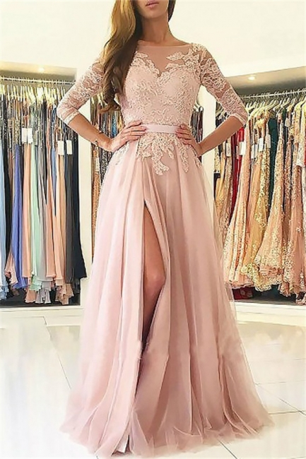 Chic Applique Long Sleeves Prom Dresses Open Back Jewel Side Slit Sexy Evening Dresses with Belt