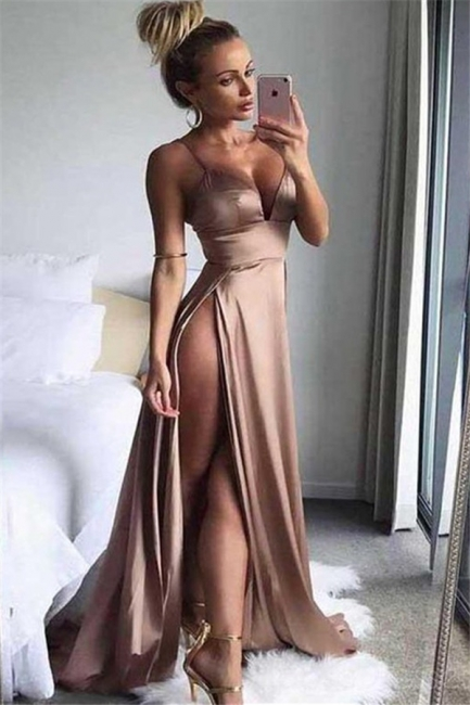 Spaghetti Strap Sleeveless Prom Dresses Side Slit Cheap Sexy Evening Dresses