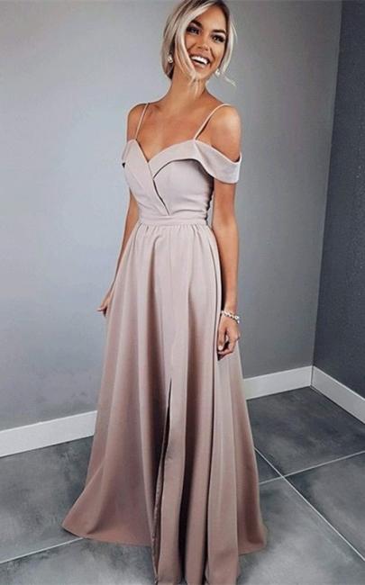 Chic Spaghetti Strap Prom Dresses Sleeveless Side Slit Sexy Evening Dresses Cheap