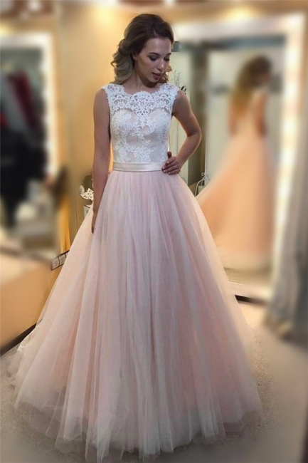Glamorous Sheer Jewel Applique Prom Dresses Sleeveless Sexy Evening Dresses with Ribbon