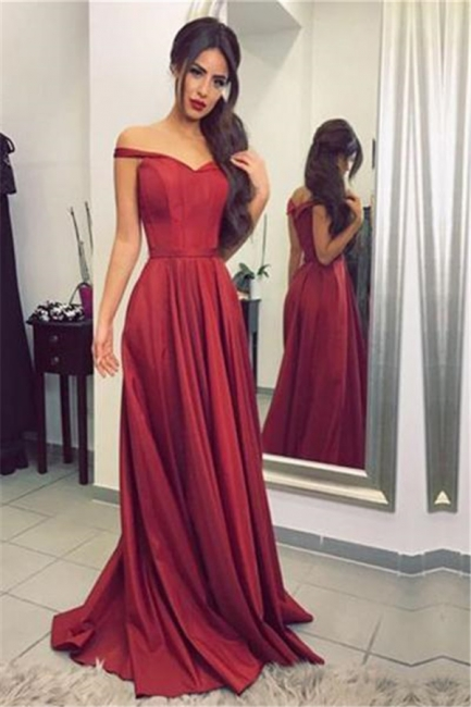 Ruffles Off-the-Shoulder Prom Dresses Simple Sleeveless Sexy Evening Dresses