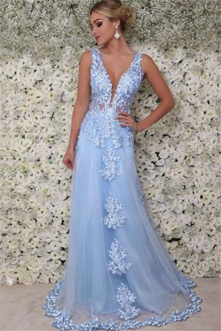 Chic V-Neck  Sleeveless Applique Prom Dresses Tulle Cheap Sexy Evening Dresses with Beads